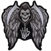 Reaper Skull Wings Middle Finger Patch Small