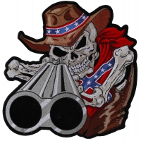 Rebel Cowboy Skull With Shotgun Barrels Large Back Patch