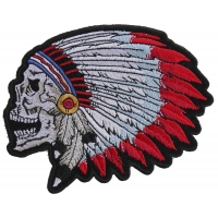 Screaming Indian Skull With Head Dress Small Patch | Skull Patches