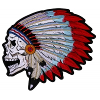 Screaming Skull With Head Dress Indian Large Patch | Embroidered Patches