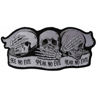 See No Evil Speak No Evil Hear No Evil Skull Large Patch