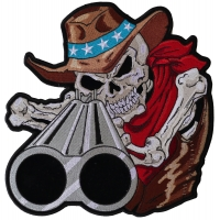 Shotgun Barrel Willy Skull Large Back Patch | Embroidered Patches