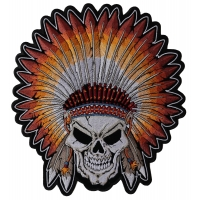 Skull Indian Head Dress Large Back Patch | Embroidered Patches