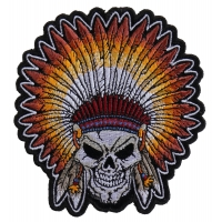Skull Indian Head Dress Small Patch | Embroidered Patches