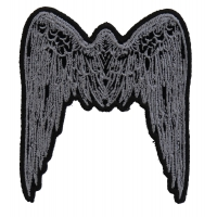 Small Angel Wings Patch Grey | Embroidered Patches