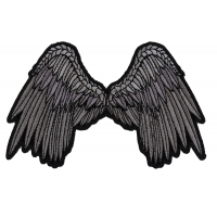 Small Beautiful Angel Wings Grey Patch | Embroidered Patches