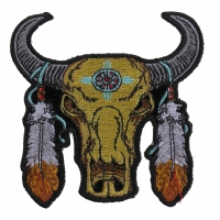 Small Buffalo Head Feathers Patch | Embroidered Patches