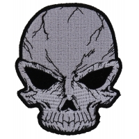Small Cracked Skull Patch Grey | Embroidered Patches