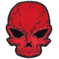 Small Cracked Skull Patch Red | Embroidered Patches