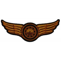 Winged Wheel Small Orange Patch | Embroidered Biker Patches