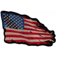 Tattered US American Flag Large Back Patch