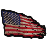 Tattered US American Flag Patch Small