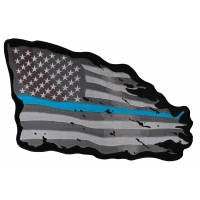 Thin Blue Line American Tattered Flag Large Back Patch