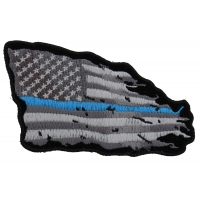 Thin Blue Line American Tattered Flag Patch