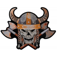 Viking Skull With Axes And Horn Helmet Patch