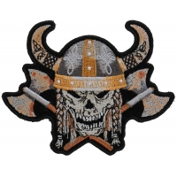Viking Skull With Axes And Horn Helmet Small Patch
