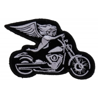 White Biker Angel On Motorcycle Patch | Embroidered Biker Patches