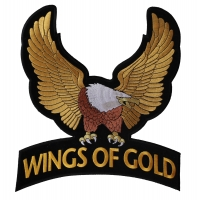 Wings Of Gold Eagle Patch Large | Embroidered Biker Patches