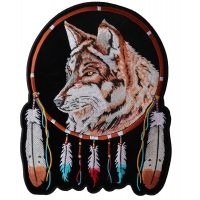 Wolf And Feathers Large Back Patch | Embroidered Patches