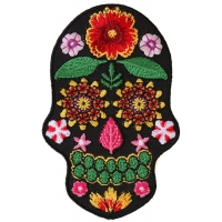 Flower Skull Black Patch