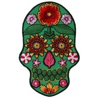 Flower Skull Green Patch