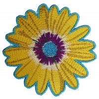 Yellow Blue Pink Flower Patch