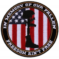 Freedom Ain't Free In Memory of Our Fallen Boot Rifle Helmet Patch