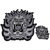 Angry Lion Embroidered Patch Set Small And Large