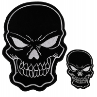 Black White Skull Patches Small And Large Patch Set