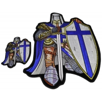 Blue Crusader Knight Patch Set Small And Large Back Patch