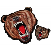 Brown Bear White Teeth Two Piece Patch Set