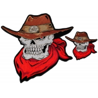 Cowboy Skull Patch Two Piece Set Brown Hat Red Scarf