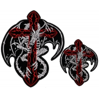 Dragon Skeleton And Cross Patch Set Small And Large