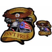 Freedom Isn't Free Two Piece Small And Large Eagle Biker Patch Set
