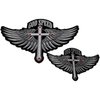 God Speed Christian Patches 2 Piece Small And Large Set