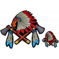 Indian With Axes And Feathers 2 Piece Patch Set
