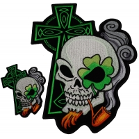 Irish Skulls With Green Cross Small And Large Patch Set