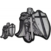 Kneeling Crusader Knight Black And White 2 Piece Patch Set