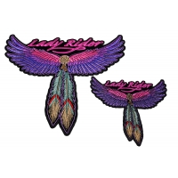 Lady Rider 2 Piece Front And Back Patch Set With Pink And Purple Wings And Feathers