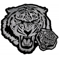 Large White Tiger Iron On Patch Set Small And Large