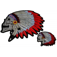 Native Indian Skull Patches With Head Dress Small And Large Set