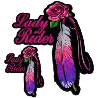 Pink Rose And Feather Lady Rider Patches Small And Large