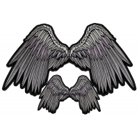 Pretty Gray Angel Wings Small And Large Patch