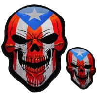 Puerto Rico Flag Skull Small And Large Patch Set