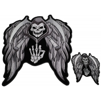 Reaper Skull With Sickle And Wings Small And Large Biker Patch Set