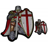 Red Knight Crusader Christian 2 Piece Patch Set