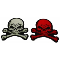 Set of 2 Gray and Red 4 inch Skull Patches