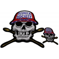 Set of 2 Large and Small Redneck Society Skull Patches