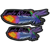 set of 2 Medium and Large Lady Rider Hummingbird Patches
