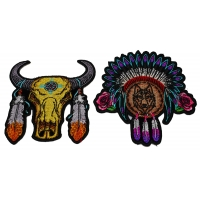 Set of 2 Native Design Wolf and Buffalo Patches with Feathers